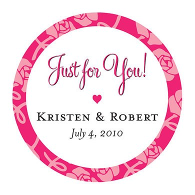Floral Print Border Wedding Favor Sticker