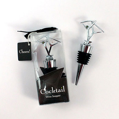 Cocktail with Olive Green Crystal Wedding Wine Bottle Stopper Favor in Gift Packaging