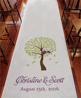 Love Bird Tree Personalized Wedding Aisle Runner