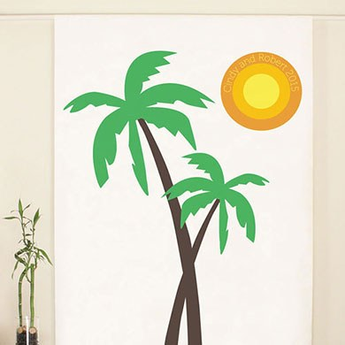 Palm Trees Banner Personalized Wedding Photo Booth Backdrop