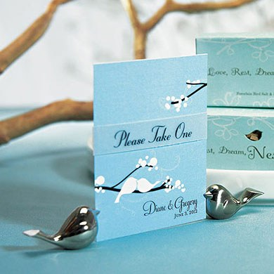 love bird wedding reception place card holder