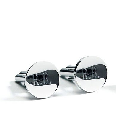 Classic Round Pair of Cufflinks in Shiny Silver Plating Wedding Gift