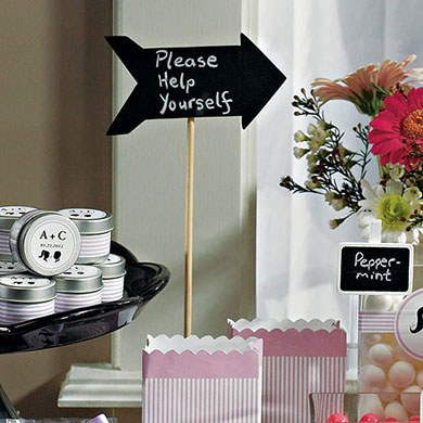 Wooden Wedding Black Board Stick in Directional Arrow Shape