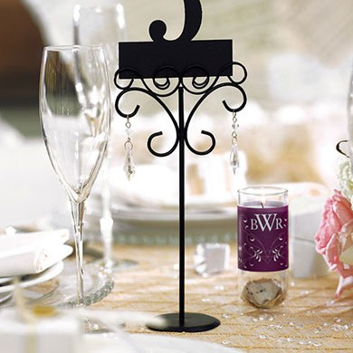 Tall Ornamental Wire Wedding Stationery Holders in Matte Black