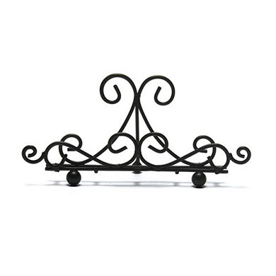Low Ornamental Wire Wedding Stationery Holders in Matte Black