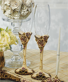 Elegant Vintage Rose Toasting Flutes