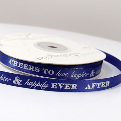 "Image of ""Cheers to Love, Laughter, and Happily Ever After"" Ribbon - Extra Wide Large Auburn"