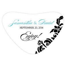 Love Bird Damask Heart Container Sticker