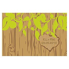 Carved Initials Tree Large Rectangular Tag