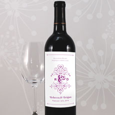Fanciful Monogram Wine Label