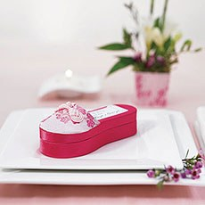 Asian Pink Brocade Slipper Boxes
