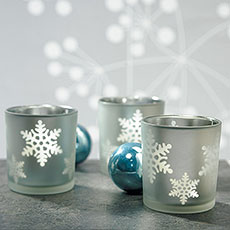 Laser Carved Glass Snowflake Tea Light Holders
