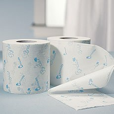Bride and Groom Wedding Toilet Paper in Traditional Blue Print