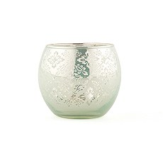 Small Glass Globe Votive Holder With Reflective Lace Pattern