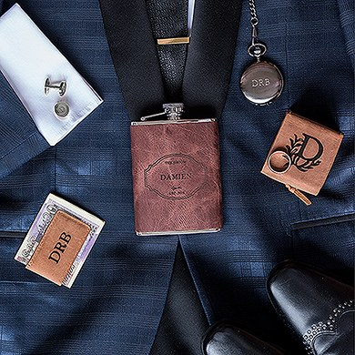 Tanned Genuine Leather Ring Box   Personalized